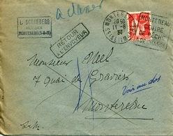 MONTEREAU 1934 Daguin DREYFUSS En 1994 Cote 50F N°MON323 CHASSE PECHE Retour à L'envoyeur Paix 50c - Postmark Collection (Covers)