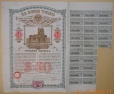 ACTION Cie Manufacturière De CIGARES SANS COLLE - EL BUEN TONO - Mexique - Mexico Le 25 Novembre 1912 - Industrie