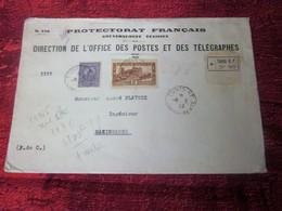 GOUVERNEMENT TUNISIEN TUNIS 1938(ex-colonies & Protectorat Français)TunisieLettre & Document Recommandé-P/ Mazingarbe - Tunisie (1888-1955)