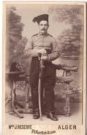 à Alger C.1890 Militaire 5e Régiment De Zouaves Chasseurs D'afrique Tirailleurs Algerie Photo Cdv Zouave Avec Sabre - War, Military
