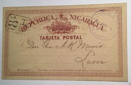 Nicaragua 1886 RARE NUMERAL CANCELLATION On Postal Stationery Card 2c Of 1878 Cds CHINANDEGA > Leon(cover Tarjeta Postal - Nicaragua