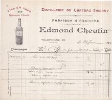02 Distillerie De CHÂTEAU-THIERRY - Fabrique D'ABSINTHE Edmond CHEUTIN - Facture De 1922 - Chateau Thierry
