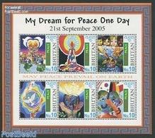 Bhutan 2005 World Peace Child Paintings 6v M/s, (Mint NH), Art - Children Drawings - Bhutan