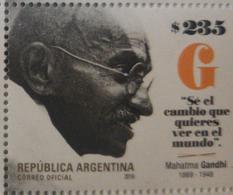 O) 2019 ARGENTINA, MAHATMA GANDHI - MOHANDAS KARAMCHAD, 1869 PROBANDAR -BRITISH INDIA, NON VIOLENT DISOBEDIENCE - MOVEM - Argentina
