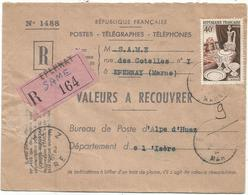 40FR PORCELAINE SEUL VALEURS A RECOUVRER EPERNAY MARNE TRES FAIBLE ANNULATION GRIFFE HUEZ EN ARRIVEE 1956 - Marcophilie (Lettres)