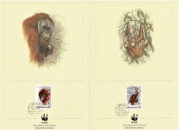 Indonesia 1989 Orangutan WWF Official Proof Edition Set Of 4 FDCs - Indonesia