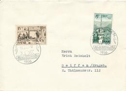 DILLINGEN / Saar   -  1956  ,  Rotes Kreuz , Tag Der Briefmarke  ,    Brief Nach Seiffen / Erzgeb. - 1947-56 Allierte Besetzung