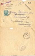 RECOMMANDÉ C.C.P. MARSEILLE Pour CHINON INDRE-ET-LOIRE Réexpédié POSTE RESTANTE PARIS 115 TàD 5-10-44 TAXE Retrait 50c - Lettere Tassate