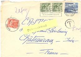LETTRE LAUSANNE SUISSE OMec 28.XI 1950 Afft INSUFFISANT Pour Lettre De 24g TAXÉ 10 F À CHATEAUROUX R.P. INDRE TàD HORO. - Lettres Taxées