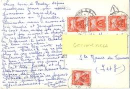 CP RODEZ AVEYRON NON AFFRANCHIE TAXÉE 40 F. STE MAURE DE TOURAINE INDRE ET LOIRE Le 12-11-1959 - Marcofilia (sobres)