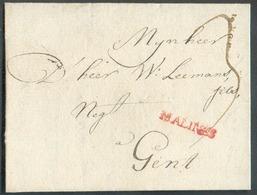 LAC (griffe Au Tampon Rouge) MALINES (H.14) Le 23/7/1783 Vers Gand; Port Dû '3'.  Belle Fraîcheur.  - 15102 - 1714-1794 (Austrian Netherlands)