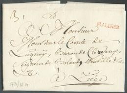 LAC (griffe Au Tampon Rouge) MALINES (H.14) Le 3/4/1780 Vers Liège; Port Dû '3'.  Belle Fraîcheur.  - 15103 - 1714-1794 (Austrian Netherlands)