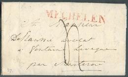 LAC (griffe Au Tampon Rouge) MECHELEN Le 17/12/1820 Vers Fontaine-l'Eveque; Port Dû '4'.  Belle Fraîcheur.  - 15104 - 1815-1830 (Dutch Period)
