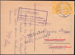4 AM-Post MeF Postkarte KARLSRUHE 18.4.46 Ak Mit 2 Verschiedenen Retour-Stempeln - Zone Anglo-Américaine
