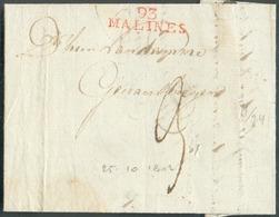 LAC (griffe Au Tampon Rouge) 93/MALINES (H.24) Le 25/10/1802 Vers Geraardsbergen; Port Dû '3'.  Belle Fraîcheur.  - 1510 - 1794-1814 (French Period)