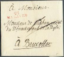 LAC (griffe Au Tampon Rouge) Expédiée De L'Archevêchée De Malines, 93/MALINES  Le 15/02/1806 Vers Bruxelles; Port Dû '2' - 1794-1814 (French Period)