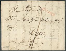 LAC (griffe Au Tampon Rouge) MALINES  Le 25/10/1815 Vers Dijon; Port Dû '7'.  Belle Fraîcheur.  - 15109 - 1814-1815 (General Gov. Belgium)