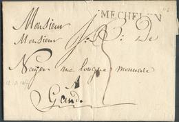 LAC (griffe Au Tampon ) MECHELEN Le 12/2/1817 Vers Gand; Port Dû '3'. - 15110 - 1815-1830 (Dutch Period)