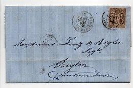 - Lettre MAISON VALARIN, NICE Pour BIGLEN Via BERN (Suisse) 29 MARS 1877 - 30 C. Brun Clair Type Sage I - Cachet 1307 - - Poststempel (Briefe)