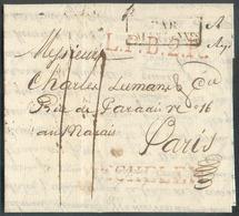 LAC (griffe Au Tampon) MECHELEN Le 16/12/1821 + Griffe L.P.B.2.R. + PAYS-BAS PAR VALENCIENNES Vers Paris; Port Dû '11'. - 1815-1830 (Dutch Period)