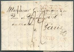 LAC (griffe Au Tampon) MECHELEN Le 3/1/1821 + Griffe L.P.B.2.R. + PAYS-BAS PAR VALENCIENNES Vers Paris; Port Dû '22'. - - 1815-1830 (Dutch Period)