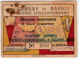 TRAM TRAMWAYS AZIENDA AUTOFILOTRAMVIARIA DI NAPOLI - TESSERA BIGLIETTO TICKET DI ABBONAMENTO 1951 - Abonnements Hebdomadaires & Mensuels