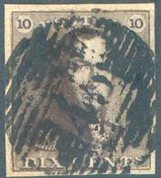 N°1 - Epaulette 10 Centimes Brune-SEPIA, Obl. P.45 GAND. - 15115 - 1849 Epaulettes