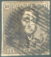 N°1 - Epaulette 10 Centimes Brune, TB Margé, Obl. P.123 VERVIERS. - 15117 - 1849 Epaulettes