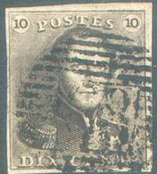 N°1 - Epaulette 10 Centimes Brune, TB Margé, Obl. P.68 LE FAYT. - 15118 - 1849 Epaulettes