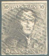 N°1 - Epaulette 10 Centimes Brune, TB Margé, Obl. Finement Aposée Laissant L'effigie Dégagée. - 15119 - 1849 Epaulettes