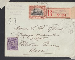 N° 139 + 142/L. RECOMMANDEE Du Havre/ Ste Adresse -> HAITI / PORT AU PRINCE / 2 NON 1916 ( RARE DESTINATION ) Ex- Wuida - 1914-1915 Rotes Kreuz