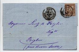 - Lettre MAISON VALARIN, NICE Pour BIGLEN (Suisse) 7 AVRIL 1878 - 30 C. Brun Clair Type Sage I - Cachet AMBULANT - - Marcofilia (sobres)