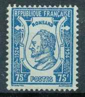D - [69496]TB//**/Mnh-France 1924, 75c Bleu Sur Azuré, Ronsard. - Writers