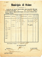 1876 OSIMO ANCONA MARCHE DC SU BEL MERCURIALE DEI PREZZI + TIMBRO ARALDICO IN BLUE - Storia Postale