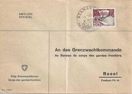 "Officiel Brief  Stansstad - ""Grenzwachtkdo, Basel""          1957 - Cartas"