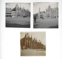 BRUGES (BRUGGE) - Grande-place - 3 Photos Originales - 1919 - Lieux