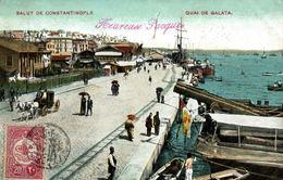 TURKEY - TÜRKIYE - CONSTANTINOPLE, Quai De Galata, Pmk CHEMIN DE FER OTTOMAN ANATOLIE - ADA BAZAR - Turkey