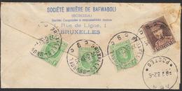 Affranch. Mixte (Houyoux / Képi) Au Verso Sur Lettre Par Avion Et R De Bruxelles(1932) Vers Opieuge-Stanleyville (Congo) - 1922-1927 Houyoux