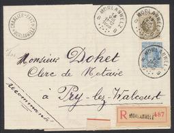 Houyoux - N°207 Et 255 Sur LAC En Recommandé De Morlanwelz (1928) Vers Pry-Lez-Walcourt / Verso Bandelette De Fermeture - 1922-1927 Houyoux