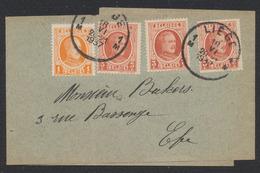 Houyoux - N°190 Et 192 X3 Sur Bande Pour Imprimée (Lourd) De Liège Vers La Ville - 1922-1927 Houyoux