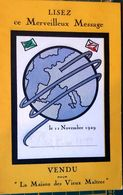CUROSITE TSF MERVIELLEUX MESSAGE 11 NOVEMBRE 1929 LA MAISON DES VIEUX MAITRES ? - Sonstige