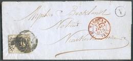 N°6 - Médaillon 10 Centimes Brun, Obl. P.105 Sur Lettre De SAINT-NICOLAS Le 23 Janvier 1857 + Boîte V De St-GILLIS Vers - 1851-1857 Medaillen (6/8)