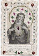 TRES SAINT COEUR DE MARIE  CANIVET XIXéme COULEUR  ORNE DE DORURE ET PAILLETTES - Devotion Images