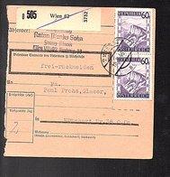 HAND-CORRECTED DATE IN CANCEL Anton Planks Sohn Franz Plank Wiien 1946 > Höhnhart Paul Prohs GLASER (727) - 1945-.... 2nd Republic