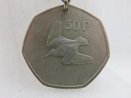 Porte-clefs - 633 - Pièce 50 P - Irlande - Harpe (musique) Et Bécasse (Oiseau) - Portachiavi