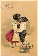 Chiens Humanisés S'embrassant - Gauffrée - Heureuse Fête - Chiens