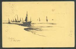 E.P. Carte 5 Centimes Vert, Obl. Sc De St-IDESBALD Le 15 Avril 1909 (verso = Dessin De La Plage Et De Bateaux) Vers Brux - Ganzsachen