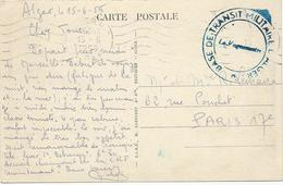 CARTE POSTALE 1956 AVEC CACHET BASE DE TRANSIT MILITAIRE D'ALGER - Guerra D'Algeria