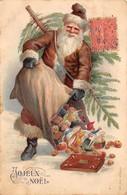 Noël - N°64034 - Joyeux Noël - Père Noël Renversant Son Sac - Carte Gaufrée - Weihnachten