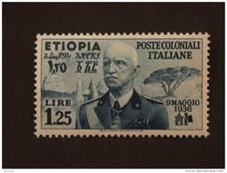Ethiopie Ethiopia Italiaanse Bezetting Occupation Italienne 1936 Victor Emmanuel II Yv 7 Charnière - Ethiopie
